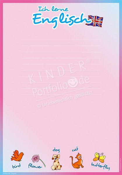 """Kindergarten Portfolio Vorlage """"Ich lerne Englisch"""""""