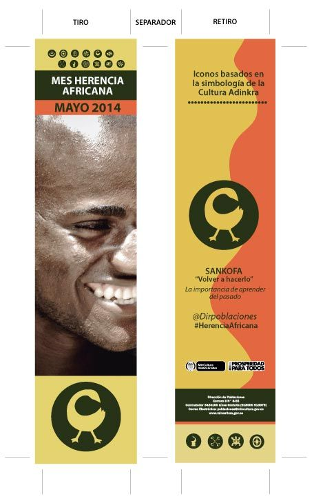 Diseño Separador (tiro y retiro): 4,5 cm x 21 cm / CMYK / Mayo Mes Herencia Africana 2014