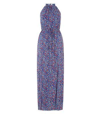 Blue Ditsy Floral High Neck Maxi Dress