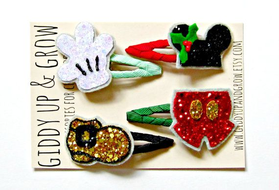 Mickey Mouse Hair Clip Set Christmas Disney by giddyupandgrow, $25.00