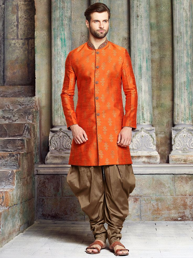 Shop Orange wedding silk kurta suit online from G3fashion India. Brand - G3, Product code - G3-MKS1086, Price - 5995, Color - Orange, Fabric - Silk,