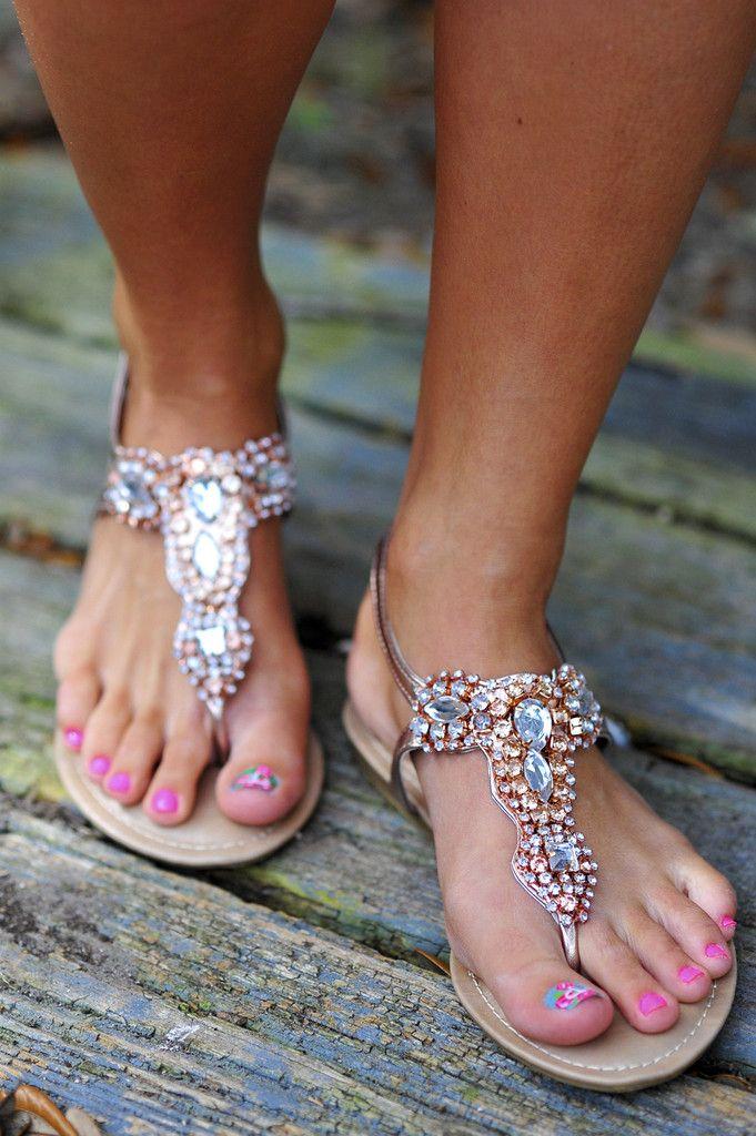 Jewel Be My Best Friend Sandals: Rose Gold #shophopes