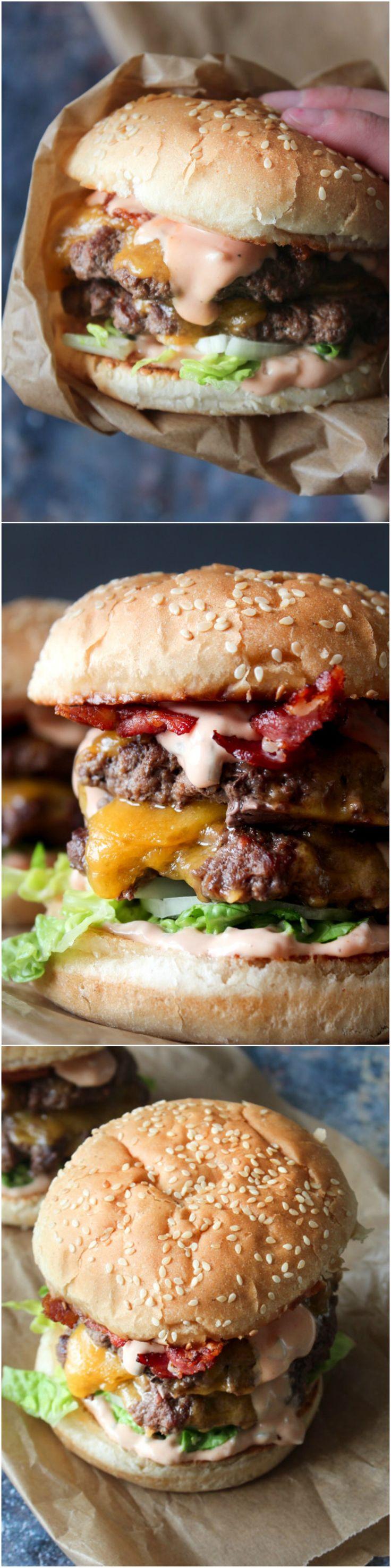 Homemade double cheeseburger with a homemade burger sauce - homemade big mac - easy dinner - homemade burger - homemade cheeseburger - bacon recipe