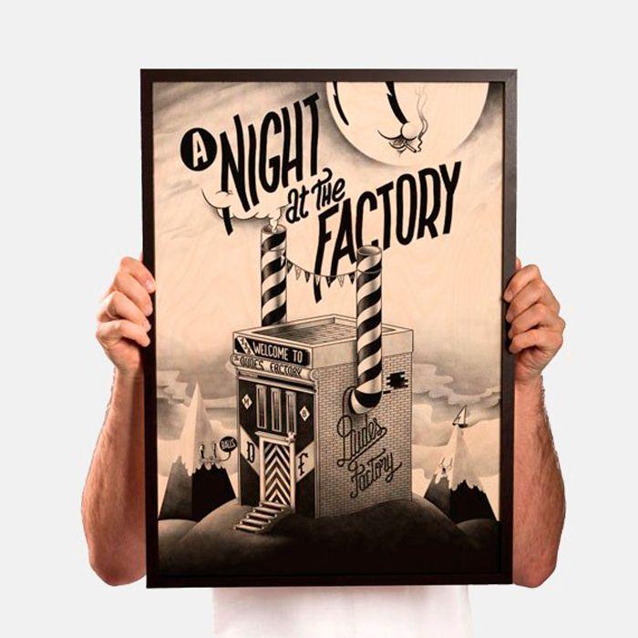 A night at the factory de McBess - Impresión Gicleé sobre madera de abedul  http://followtheforest.com/ilustraciones/3-a-night-at-the-factory-by-mcbess.html