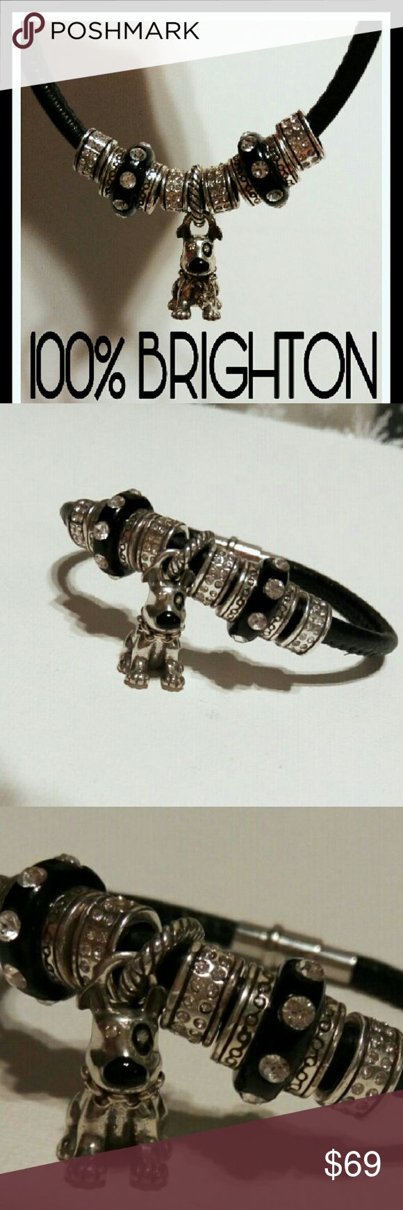 Unique 100% Authentic BRIGHTON Bracelet & Charms Lightly used, one of a kind BRIGHTON bracelet & charms.   Extremely cute BRIGHTON dog charm  w/ black nose and eye flanked by silver and black beads. Brighton Jewelry Bracelets