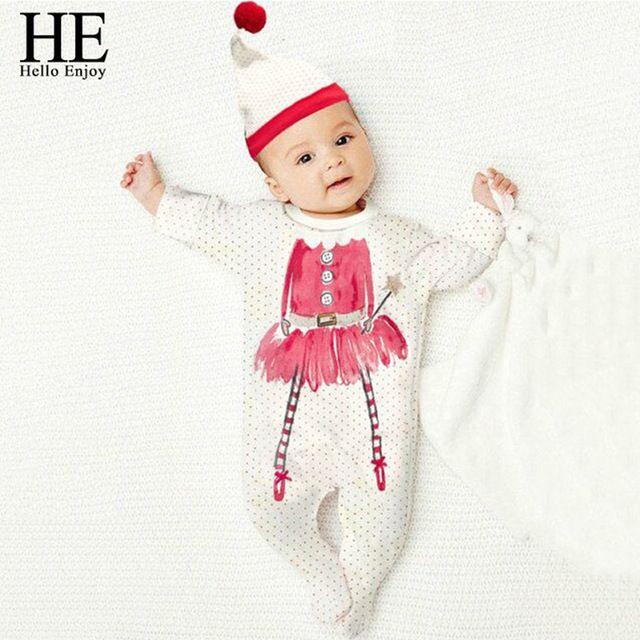 Привет Наслаждаться Рождество ребенка комбинезон Случайные девочка одежда для новорожденных с длинным рукавом dot комбинезон восхождение костюм + прекрасная шляпа одежда
