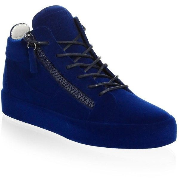 Giuseppe Zanotti Velvet Spray High-Top Sneakers ($895) ❤ liked on Polyvore featuring men's fashion, men's shoes, men's sneakers, mens velvet sneakers, mens zip shoes, mens shoes, mens black hi top sneakers and mens rubber sole shoes