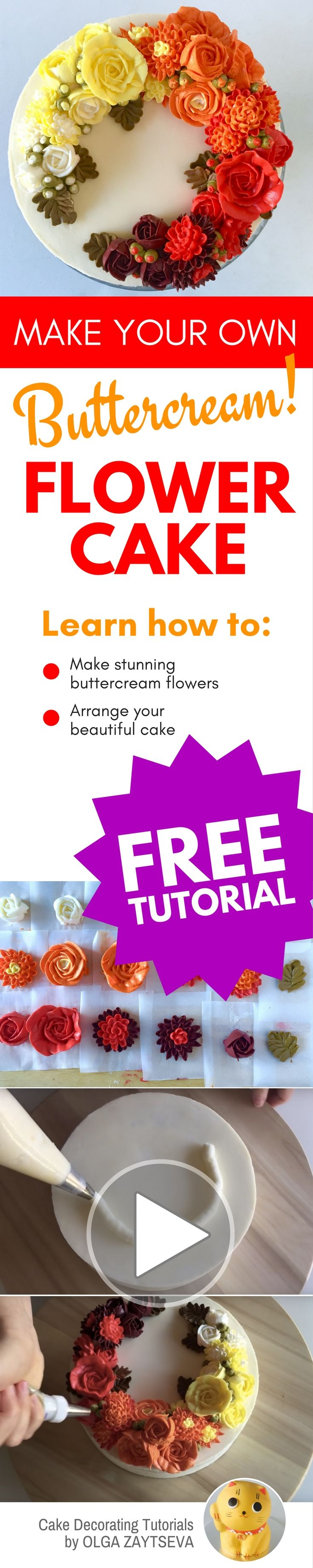 How to make Buttercream ombre roses and chrysanthemums cake - Cake decorating tutorial by Olga Zaytseva. Learn how to make buttercream roses, pipe chrysanthemums and create this Autumnal floral wreath cake with ombre effect. #cakedecorating #cakedecoratingtutorial #buttercreamflowercake #buttercreamflowers