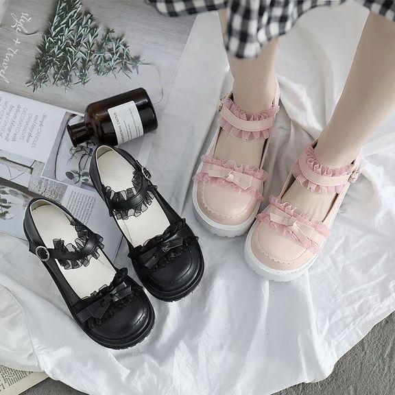Harajuku Style Soft Round Toe Cute Bow Knot Lace Platform Girly Shoes