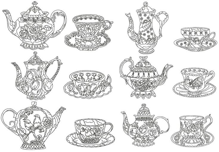 Advanced Embroidery Designs - One-Color Tea Cup Set