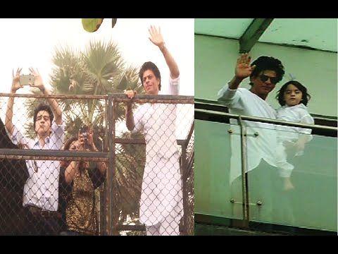 Shahrukh Khan & his cute son Abram at Mannat meets & greets fans on EID 2016.