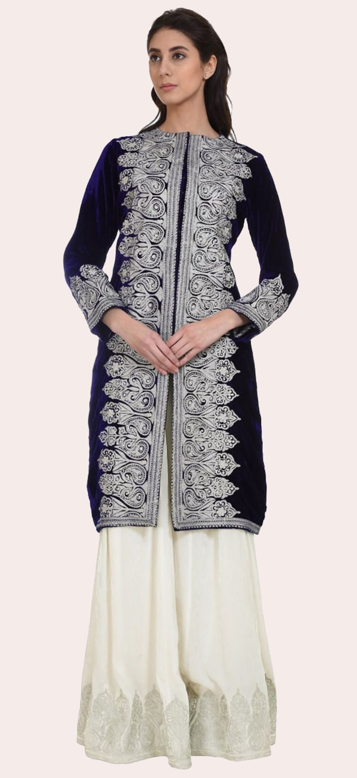 Eid 2017 Collection: Electric Blue-Ivory Silk-Velvet Tilla Embroidered Jacket With Skirt
