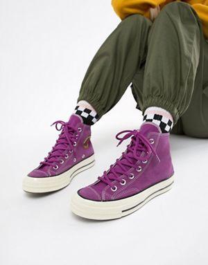 576a4ae77d965a Converse Chuck 70 Base Camp hi suede purple trainers