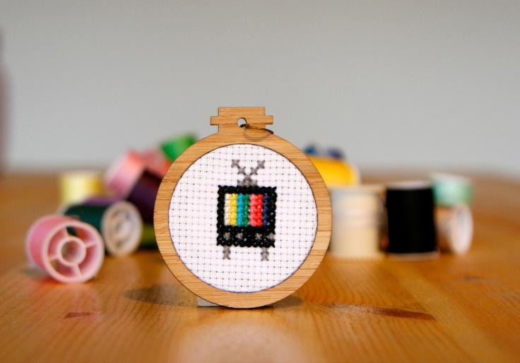 Television Cross-stitch Pendant - whistlingteapot.com.au