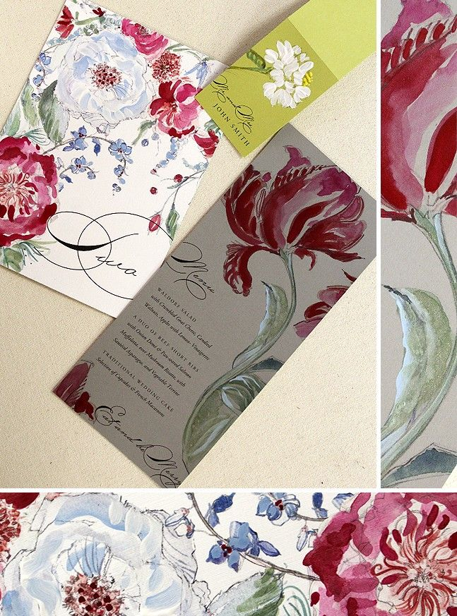 Cranberry, Slate and Chartruese Bohemian Floral Wedding Accessories | Momental Designs – Unique Handmade Wedding Invitations, Custom Invitations by Artist, Kristy Rice  #watercolorweddinginvitations #momentaldesigns