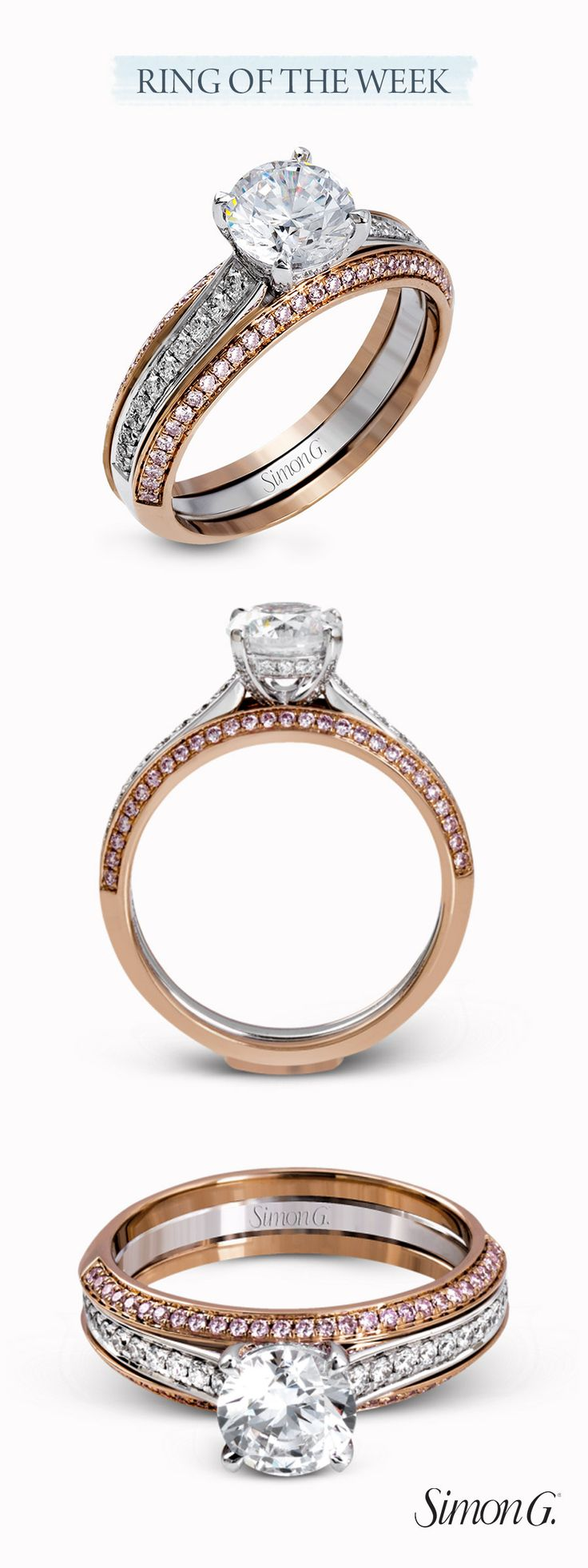 engagement rings 2B jewelry fish hook wedding ring Our RING OF THE WEEK by is perfect for rose gold lovers The engagement ring features white diamonds set into white gold through the center