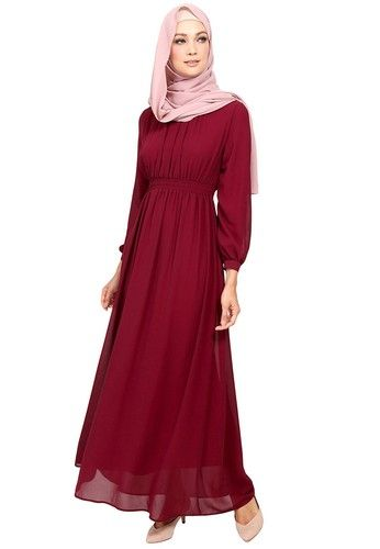 Brielle Gartered Chiffon Maxi Dress from Poplook in red_1