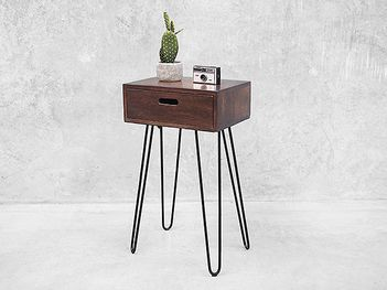 Minimalistic design featuring the iconic hairpin styled legs, this bedside table is cute little addition to your home.