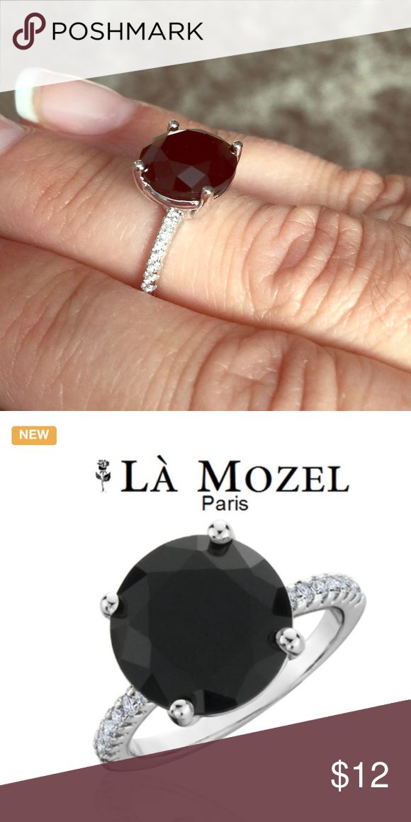 💟SALE💟 Black Sapphire Ring 18K White Gold Stunning Created Black Sapphire With CZ Accents Round Ring In 18K White Gold Over Brass by La Mozel La Mozel Jewelry Rings