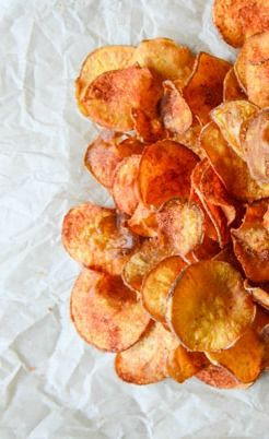 Homemade barbeque sweet potato chips