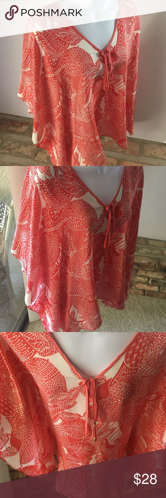 Beautiful Coral & White TALBOTS Flowing Blouse Really pretty coral & cream 100% silk print free flow blouse. Nice batwing style sleeve Talbots Tops Blouses