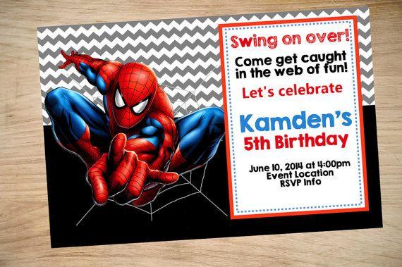 Spider-Man Birthday Invitation Spider-Man by Partyboxinvites