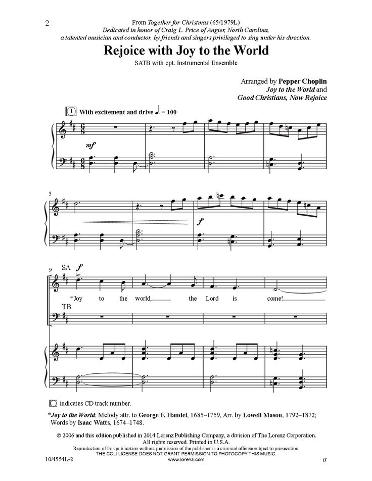 joy to the world satb sheet music pdf