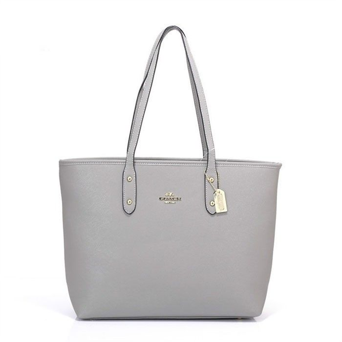 Coach Logo Charm HW301 Tote In Grey