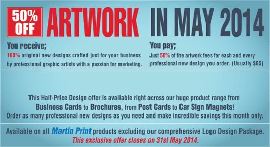 50% OFF DESIGN FEES AT MARTIN PRINT! Freshly crafted professional new artwork at just half the price in May only.
