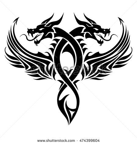 Black cutout tribal dragon tattoo vector illustration