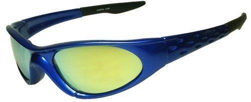 """Sport Sonnenbrille """"Cobra"""", No. 4014 Herren Damen Modebrille Sportbrille bikerbrille radfahrerbrille blau   gelb verspiegelt"""