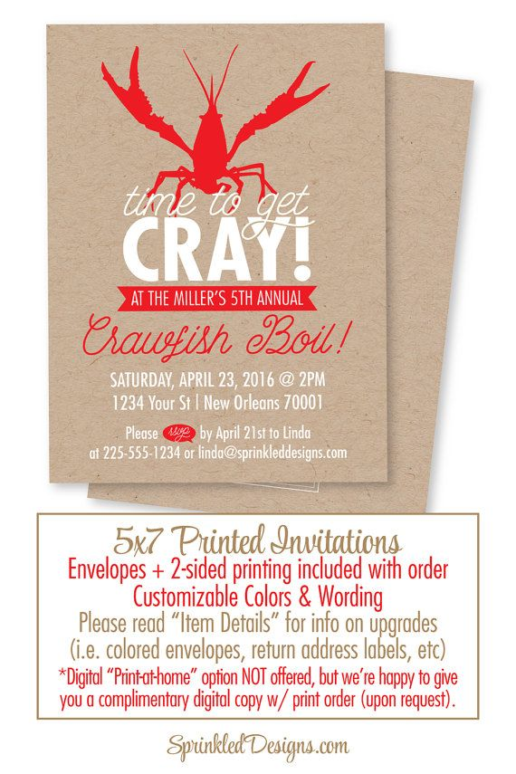 Crawfish Boil Invitation - Time to get Cray Cray - New Orleans Seafood Boil - Rustic Kraft Paper - Louisiana Crawfish Boil Party Invites by SprinkledDesigns.com