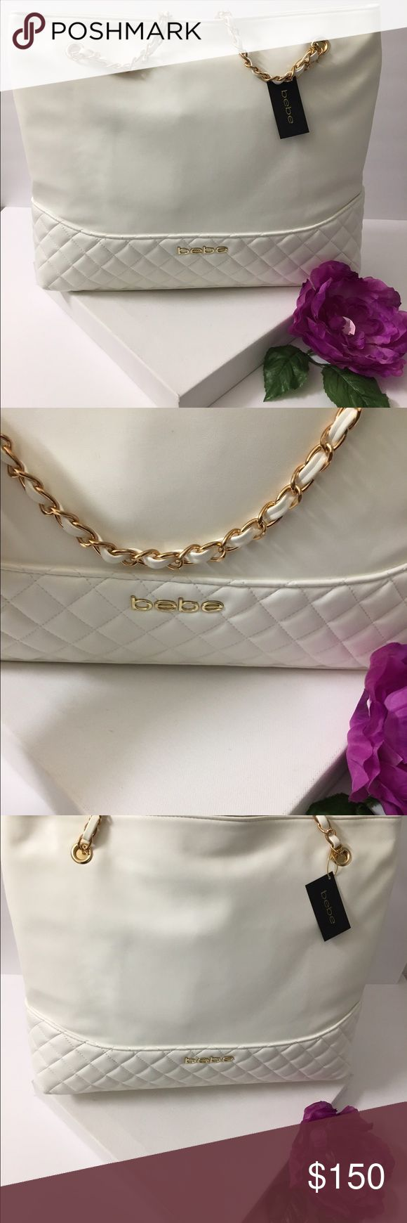 💫💋BeBe couture oversized Quilted shoulder bag💯 Authentic Bebe couture extra large shoulder bag with gold chain handles .  Has gold zipper to close on top . Brand new with tag ! I've been in beauty industry for 12+ years I have a lot connections to multiple high end brands Etc . This needs a home its gorg!💯💯🎉🎉👍🏼✨✨✨✨✨😉 bebe Bags Shoulder Bags