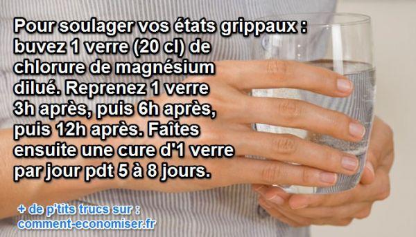 Heureusement, il existe un remède magique afin de les soulager un peu. Il suffit de prendre du chlorure de magnésium dans un verre d'eau pour se sentir mieux.  Découvrez l'astuce ici : http://www.comment-economiser.fr/chlorure-soulager-etats-grippaux.html?utm_content=buffer19c7a&utm_medium=social&utm_source=pinterest.com&utm_campaign=buffer