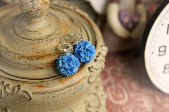 Orecchini di argilla del polimero, gioielli fiori fatti a mano, Orecchini floreali, orecchini palla fiore, Accessori Sposa, orecchini blu, orecchini