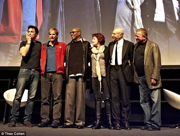 Reunited: The five former Star Trek captains William Shatner, Patrick Stewart, Kate Mulgrew, Avery Brooks and Scott Bakula chat to the crowd