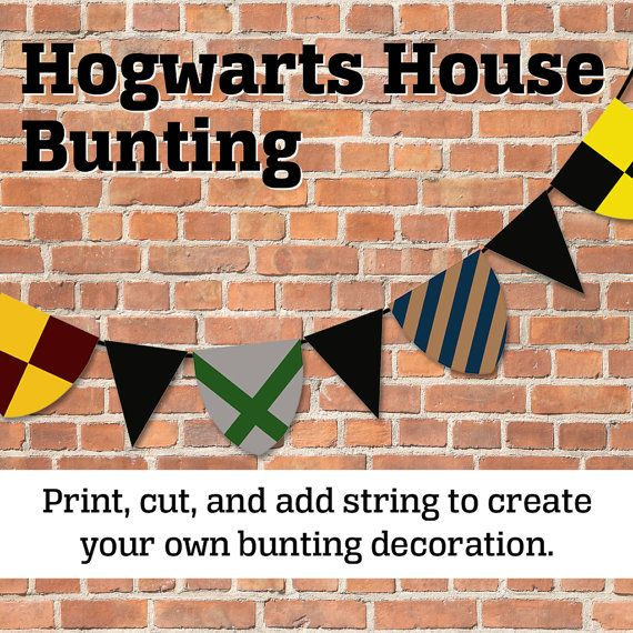 Printable Hogwarts Bunting Decoration by crystalnale on Etsy