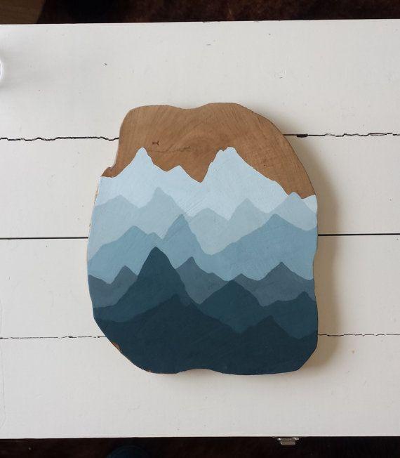 Teak bord met schildering van bergen