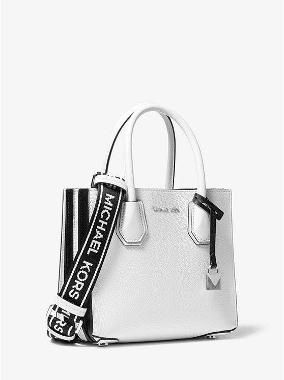 7f7e77e1f6a4 Mercer Medium Leather Logo Tape Accordion Crossbody Michael Kors Outlet,  Shopping Totes, Pebbled Leather