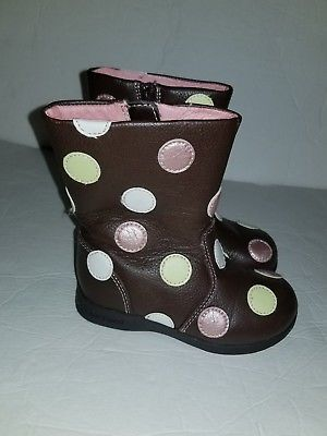 Baby Girl Boots Pediped Size 7 Us 23 Euro Brown Dots Leather Shoes
