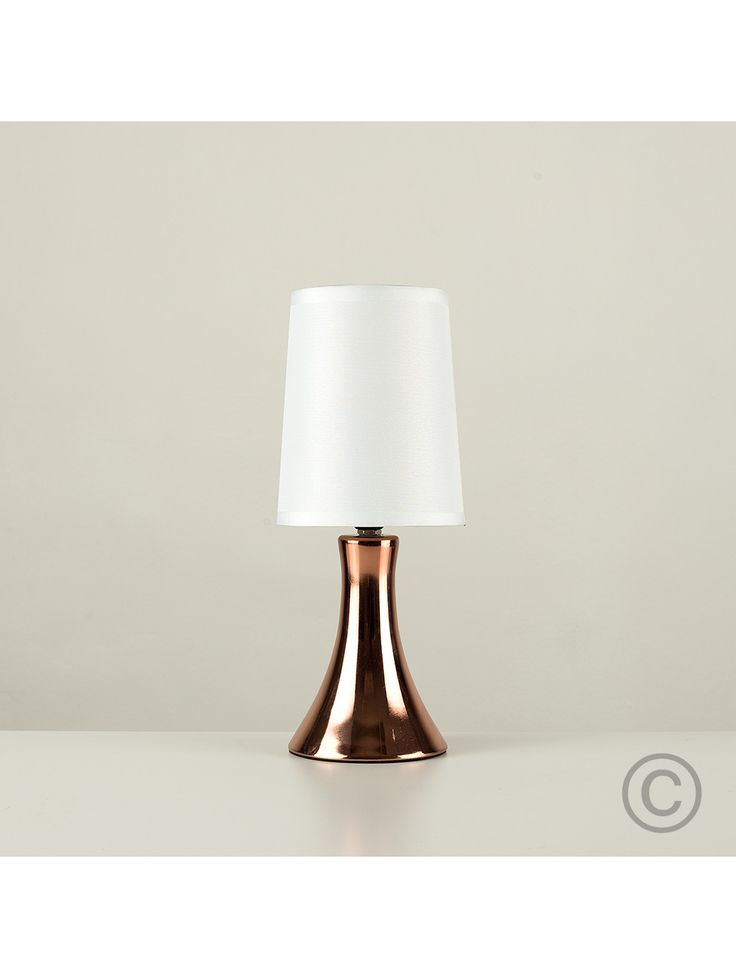 Modern Trumpet Touch Table Lamp with Copper Base