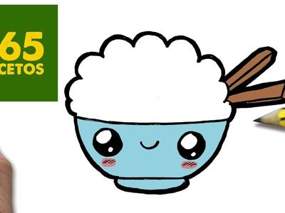 COMO DIBUJAR ARROZ KAWAII PASO A PASO - Dibujos kawaii faciles - How to draw a rice