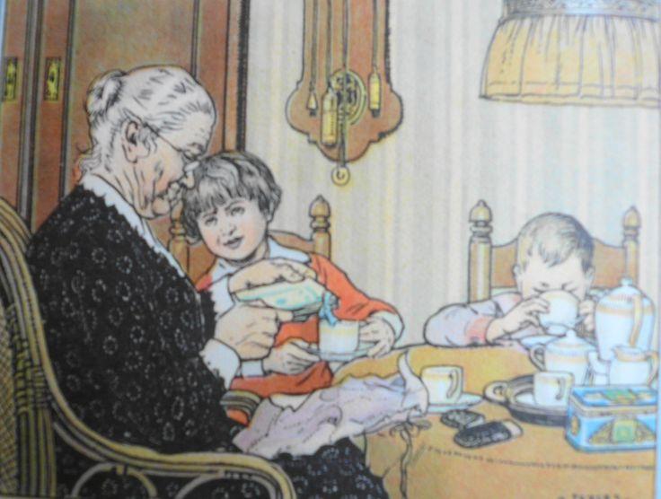 Jan Ligthart en H. Scheepstra: 'Nog bij moeder': illustraties: C. Jetses: J.B. Wolters' Uitgeversmaatschappij NV - Groningen, Batavia; negende druk; 1948