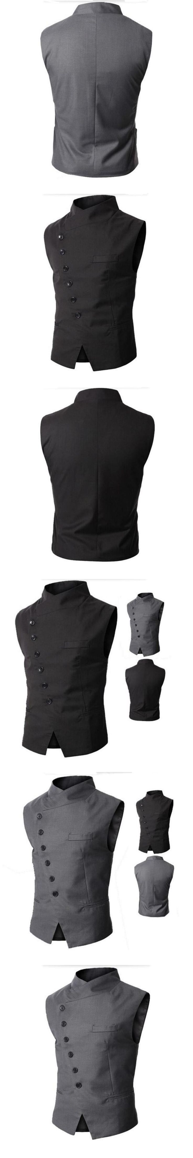British Style Dress Men Suit Vest Slim Fit Business Casual Jacket Mens Stand Collar Waistcoats Banquet Formal Vest Gilet Hombre