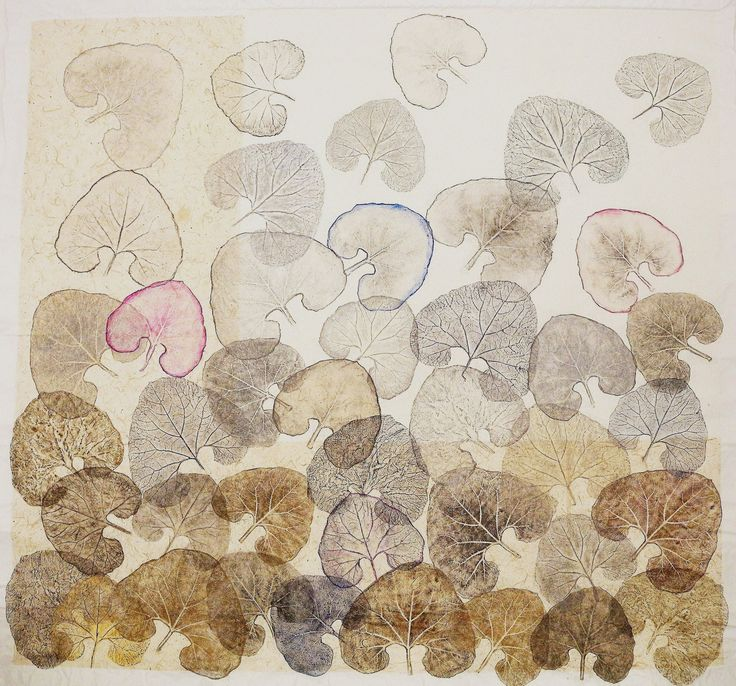INVERNO, leggere le foglie come nuvole in un cielo che le colora già di Primavera, 2013, cm.195X210, tecnica mista su carte giapponesi, supporto tela