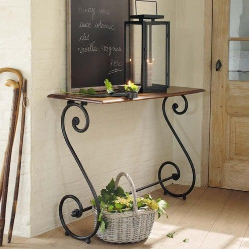 Wrought iron and solid sheesham wood console table W 100cm