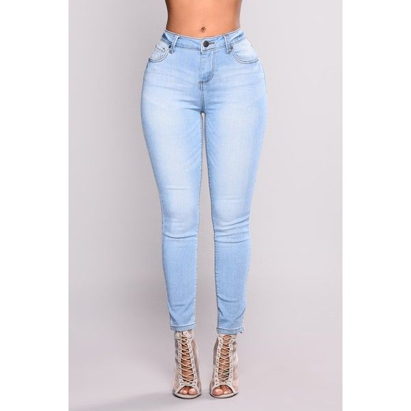 Chiaki Ankle Jeans Light Blue Wash ❤ liked on Polyvore featuring jeans, high waisted ankle jeans, stretch denim jeans, light blue jeans, short pants and high rise jeans