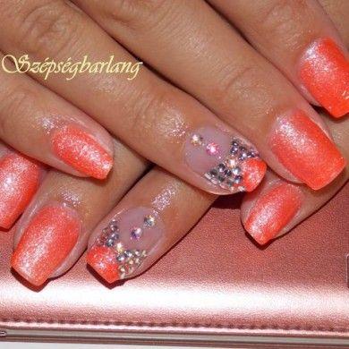 neon narancs strassz kövekkel