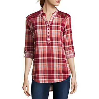 jcpenney.com | Almost Famous Long-Sleeve Roll-Tab Lace-Detail Plaid Shirt  - Juniors