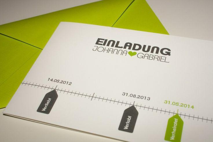 Einladungskarte Hochzeit - Zeitstrahl  English, Hochzeit and Design